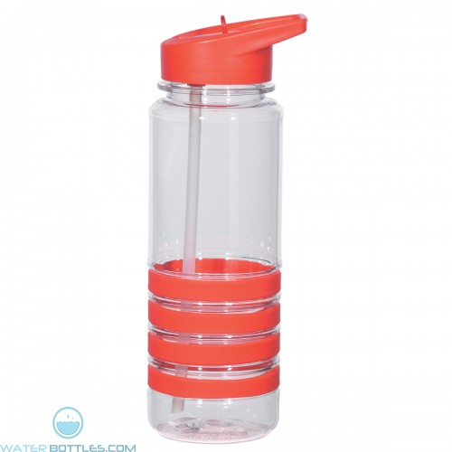 2be812c847 Custom Banded Gripper Bottles With Straw | 24 oz - Clear With Red Trim