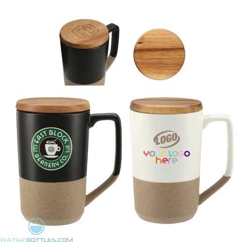 16 Oz Tahoe Tea Coffee Ceramic Mug With Wood Lid Beer Custom Coffee Mugs