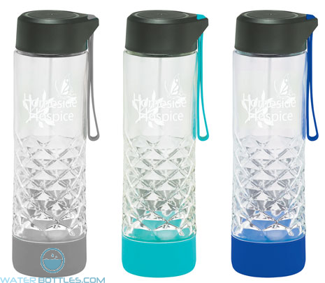 Personalized Logo Water Bottles - 20 oz Geometric Glass Water Bottle