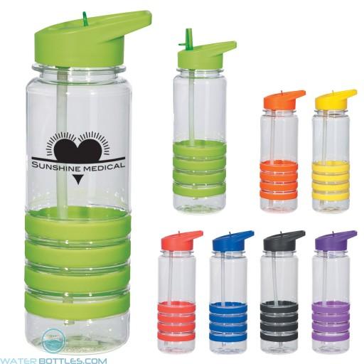 Custom Logo Water Bottles - Banded Gripper Bottles With Straw | 24 oz