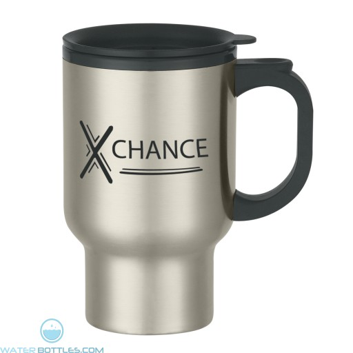 Promotional Mugs - Stainless Steel Travel Mug With Sip-Thru Lid And Plastic Inner Liner | 16 oz