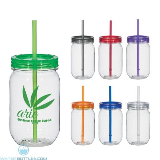 Custom Mason Jar Mugs - Mason Jar With Matching Straw | 25 oz
