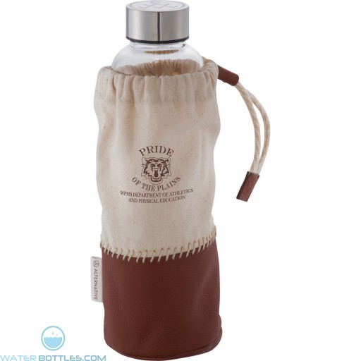 Personalized Water Bottles - Branded Glass Bottle With Pouch | 18 oz
