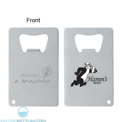 Personalized Promo Water Bottles - Stainless Credit Card Bottle Opener