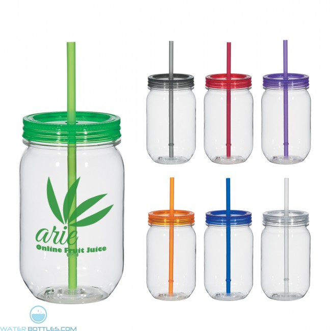mason jar with matching straw 25 oz custom water bottles