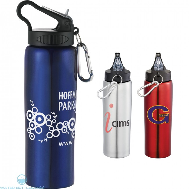 BPA Free Colorful 24 oz Plastic Sports Water Bottle with Flip-Top Lid
